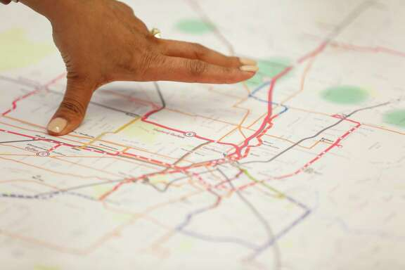 Priya Zachariah Metro manager of long range planning points to a MetroNext map as she talked to members of the Houston Chronicle Editorial Board Thursday, Jan. 10, 2019, in Houston.
