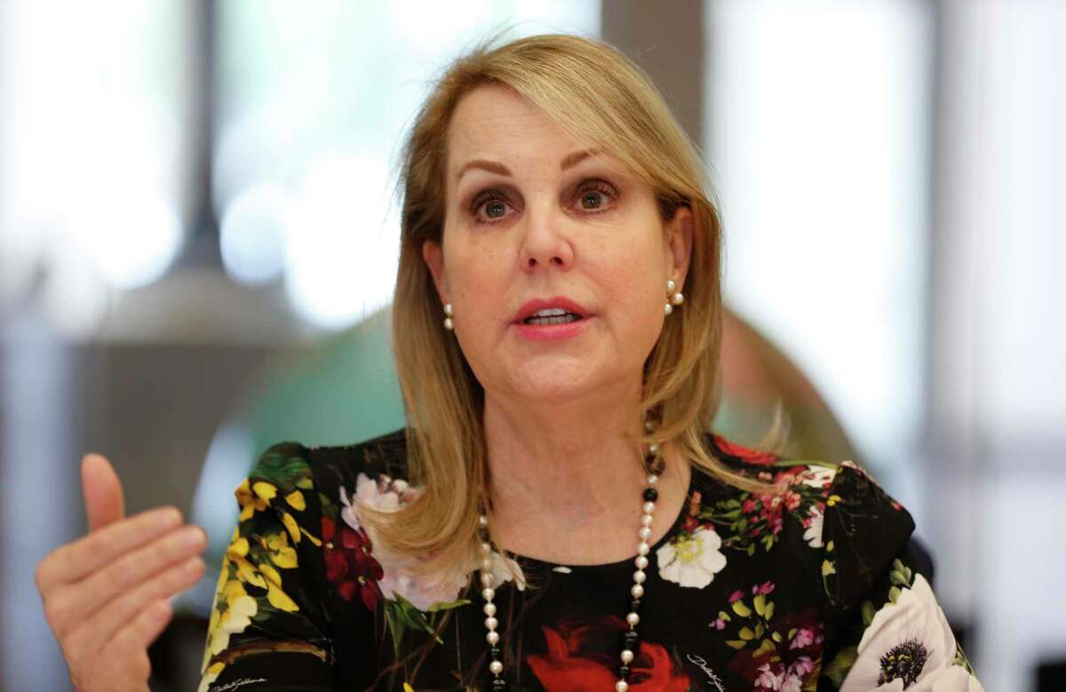 Carrin Patman, chairwoman of Metro talks to members of the Houston Chronicle Editorial Board on Jan. 10, 2019, in Houston.