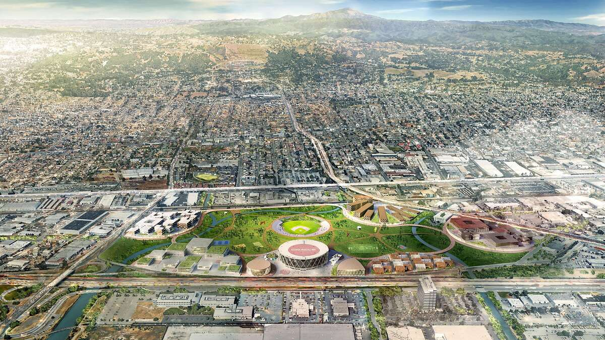 A rendering of the plans the Oakland Athletics have for the existing footprint of the Oakland Coliseum and environs which includes a baseball diamond amphitheater, residential and shopping space, soccer fields, etc.