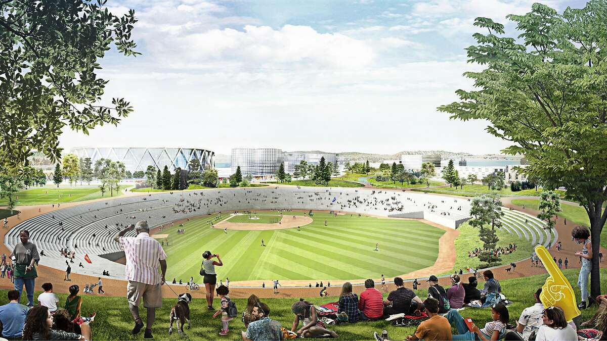 A rendering of the plans the Oakland Athletics have for the existing footprint of the Oakland Coliseum and environs which includes a baseball diamond amphitheater.