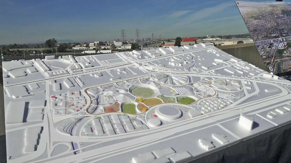 A model of Bjarke Ingels Group's conceptual plan for a redevelopment of the Oakland Coliseum site. The model was shown at an outdoor press event held by the team on January 23, 2019.