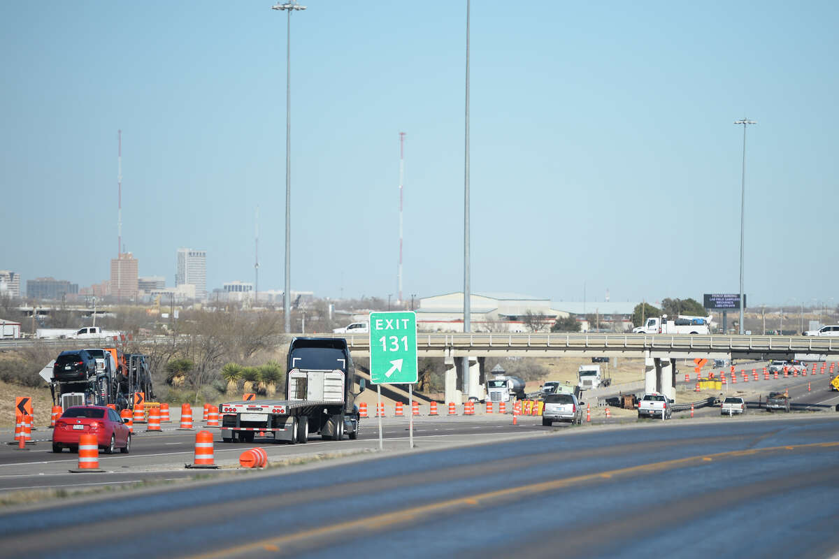 Lane closures were put in place Jan. 23, 2018 at the bridge at West Loop 250 over Interstate 20. The bridge will be demolished and reconstructed after being damaged by a truck carrying an oversize load, according to a press release from Texas Department of Transportation. James Durbin/Reporter-Telegram