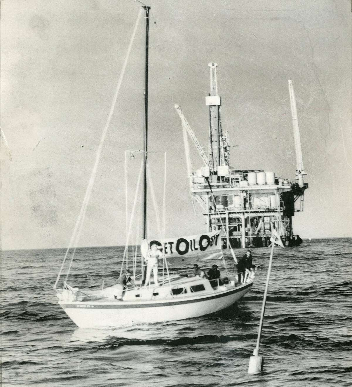 A buoy was set up in the vicinity of Union Oil Co. PLatform 4, to mark the spot where the oil spill occurred a year earlier. Ship was chartered by GOO (Get Oil Out) January 28, 1970 Associated Press photo Ran 02/15/1970, This World