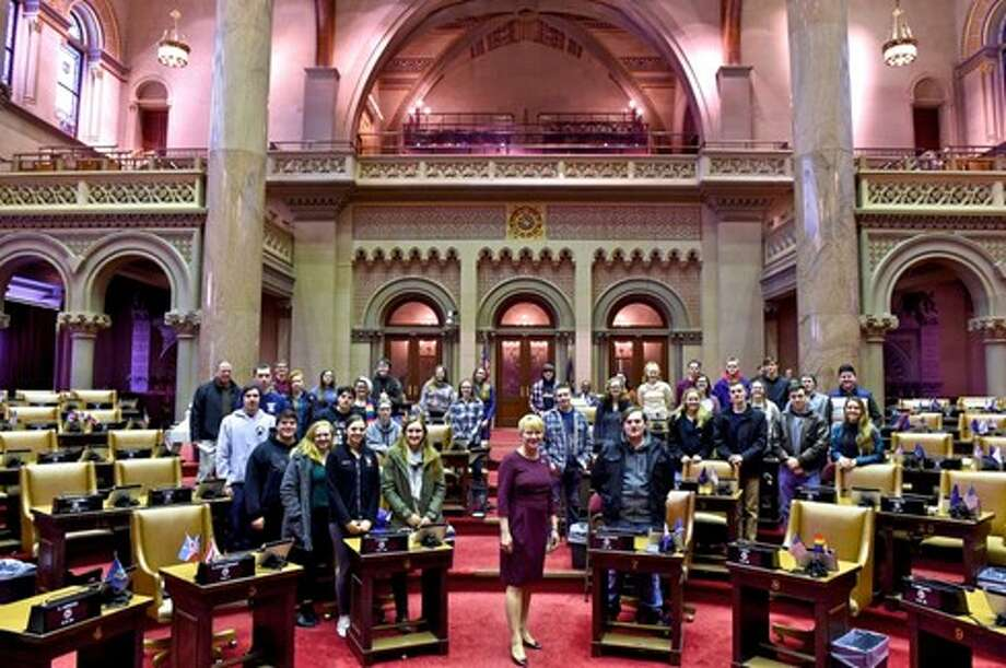 Assemblywoman Mary Beth Walsh, R-Ballston, welcomed 33 Galway High School seniors into the Assembly chamber Tuesday morning. Student in the American political studies class, taught by Geoff Maliszewski, took a trip to Albany to meet with Walsh, tour the Capitol and see state politics in action.