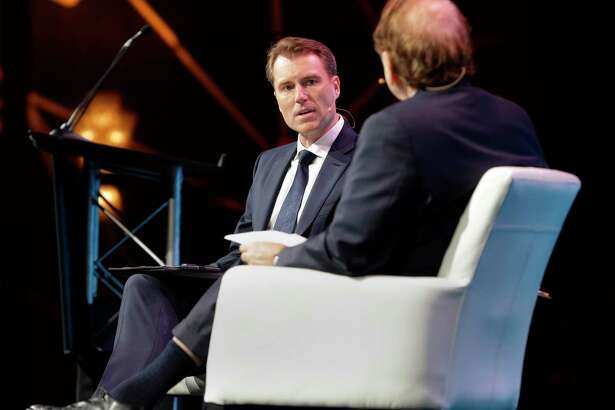 Schlumberger CEO Paal Kibsgaard answers questions from moderator Dan Yergin during a Q&A session at CERAWeek held at the Hilton Americas Hotel Tuesday, Mar. 6, 2018 in Houston, TX. (Michael Wyke / For the Chronicle)