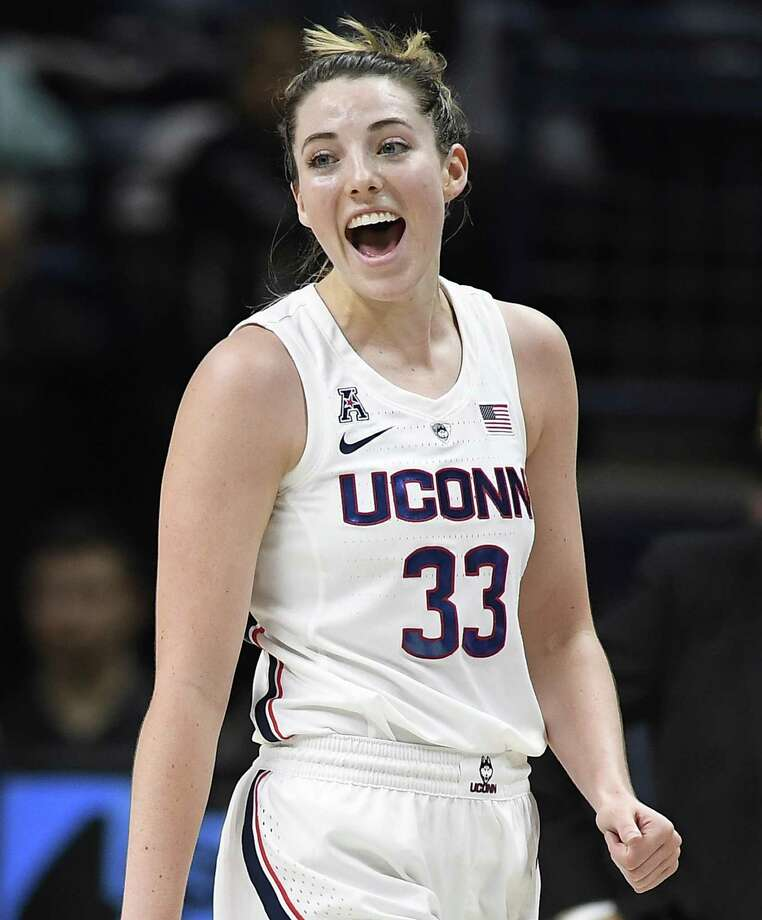 UConn's Katie Lou Samuelson reacts during the first half of Wednesday's 79-39 win over SMU in Storrs. Samuelson scored 21 points in the victory. Photo: Jessica Hill / Associated Press / Copyright 2019 The Associated Press. All rights reserved