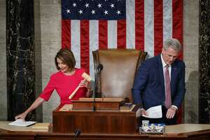 House Speaker-elect Nancy Pelosi of California, who will lead the 116th Congress, holds the gavel as Rep. Kevin McCarthy, R-Calif., leaves the dais at the U.S. Capitol in Washington, Thursday, Jan. 3, 2019. (AP Photo/Carolyn Kaster)