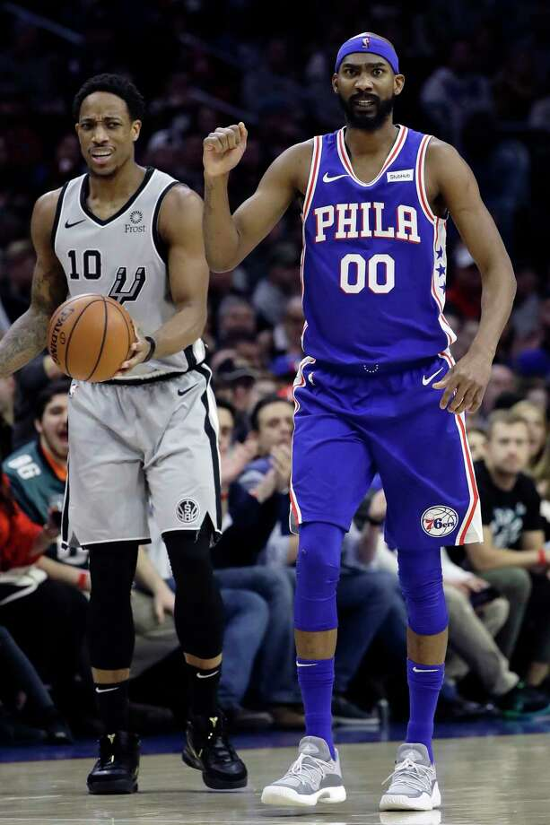 Philadelphia 76ers' Corey Brewer (00) reacts after forcing a turnover by San Antonio Spurs' DeMar DeRozan (10) during the first half of an NBA basketball game, Wednesday, Jan. 23, 2019, in Philadelphia. (AP Photo/Matt Slocum) Photo: Matt Slocum, Associated Press / Copyright 2019 The Associated Press. All rights reserved