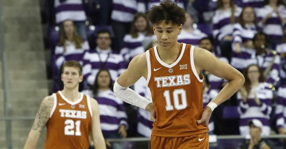 Texas forwards Jaxson Hayes (10) and Dylan Osetkowski (21) walk the court during the second half of an NCAA college basketball game against TCU in Fort Worth, Texas, Wednesday, Jan. 23, 2019. TCU won 65-61.(AP Photo/LM Otero) Photo: LM Otero/Associated Press