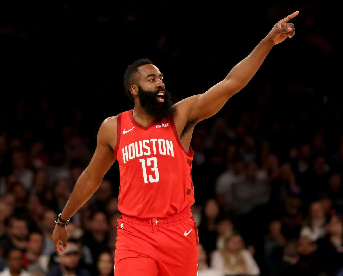 NEW YORK, NEW YORK - JANUARY 23: James Harden #13 of the Houston Rockets celebrates his shot in the first quarter against the New York Knicks at Madison Square Garden on January 23, 2019 in New York City.NOTE TO USER: User expressly acknowledges and agrees that, by downloading and or using this photograph, User is consenting to the terms and conditions of the Getty Images License Agreement. (Photo by Elsa/Getty Images)