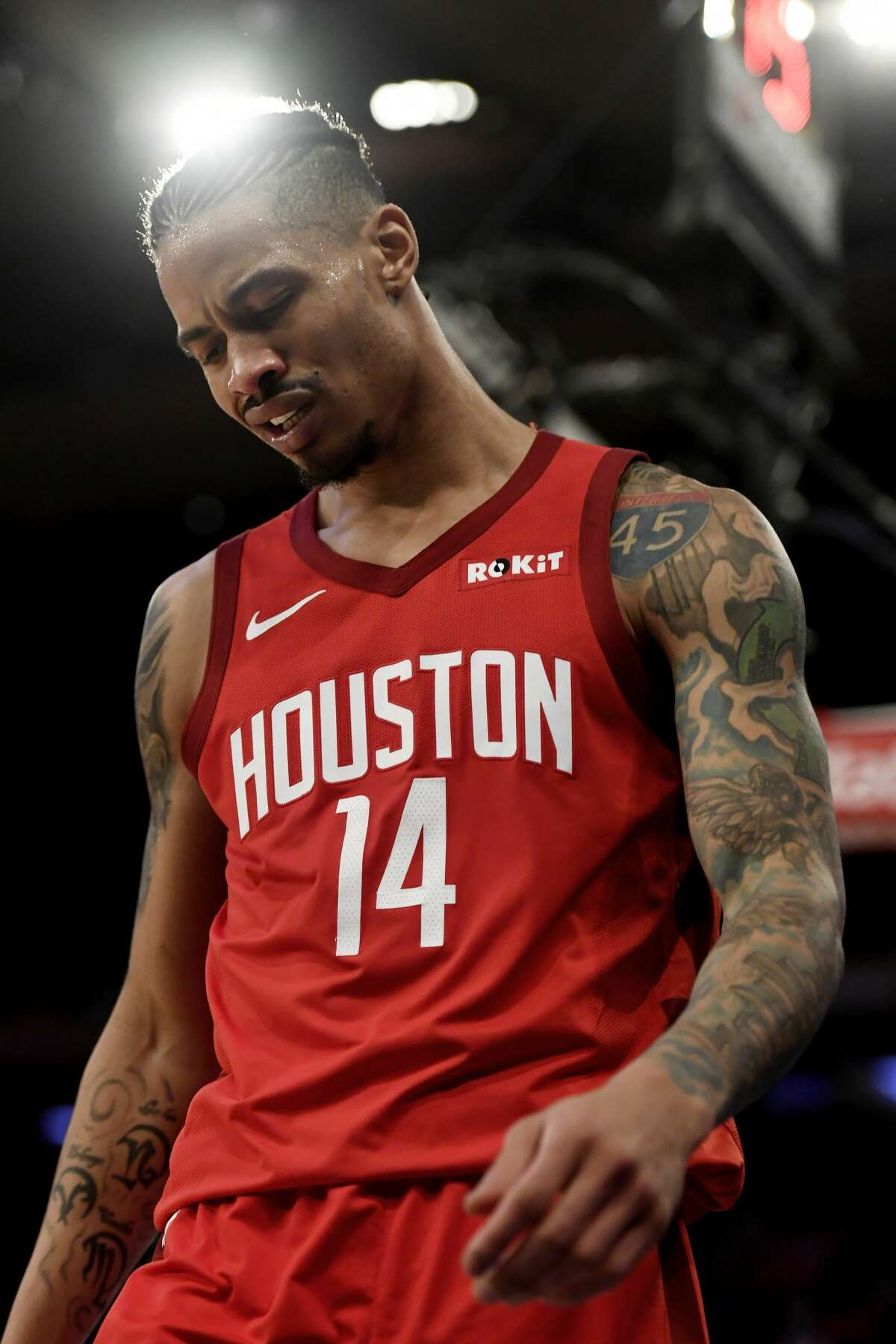 NEW YORK, NEW YORK - JANUARY 23: Gerald Green #14 of the Houston Rockets reacts to a call during the fourth quarter of the game against theNew York Knicks at Madison Square Garden on January 23, 2019 in New York City. NOTE TO USER: User expressly acknowledges and agrees that, by downloading and or using this photograph, User is consenting to the terms and conditions of the Getty Images License Agreement. (Photo by Sarah Stier/Getty Images)