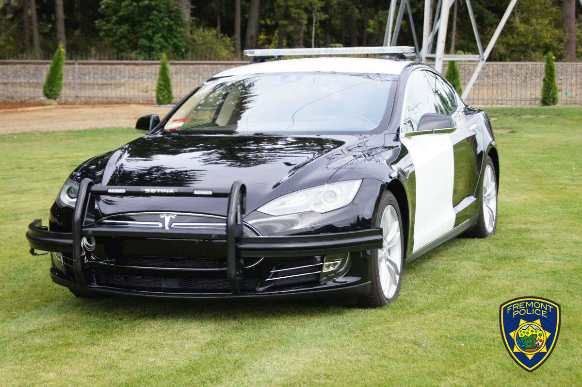 A 2014 Tesla Model S 85 is being outfitted for patrol before being put into use with the Fremont Police Department. A number ofitems, including sirens and a push bumper, are being added to the vehicle, and Fremont PD decals will be added to its side when it arrives at police headquarters.