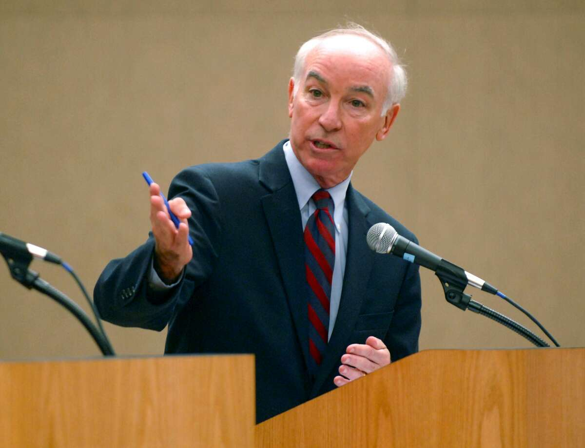 Democratic incumbent U.S. Rep. Joe Courtney speaks during the 2nd Congressional debate at Eastern Connecticut State University in Willimantic, Conn. on Thursday Oct. 21, 2010. (AP Photo/The Norwich Bulletin, Aaron Flaum)
