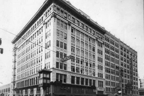 Corner of Capitol and Main, looking southeast, in this undated photo. After S.H. Kress and Company's downtown Houston store was built in 1912, it was renovated and remodeled a number of times. Flying Saucer occupies this corner today.