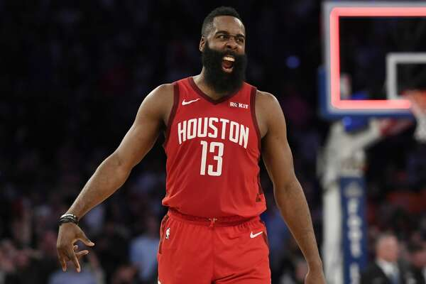 NEW YORK, NEW YORK - JANUARY 23: James Harden #13 of the Houston Rockets celebrates the 114-110 over the New York Knicks at the end of the game at Madison Square Garden on January 23, 2019 in New York City. NOTE TO USER: User expressly acknowledges and agrees that, by downloading and or using this photograph, User is consenting to the terms and conditions of the Getty Images License Agreement. (Photo by Sarah Stier/Getty Images)