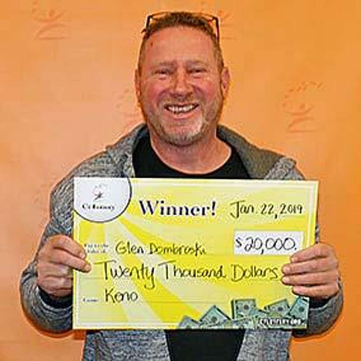 """Glen Dombroski, of Stamford, recently won $20,000 playing Keno. He told CT Lottery officials he plans to pay off two car loans with the prize money. """"That's two less payments a month to think about,"""" he said."""
