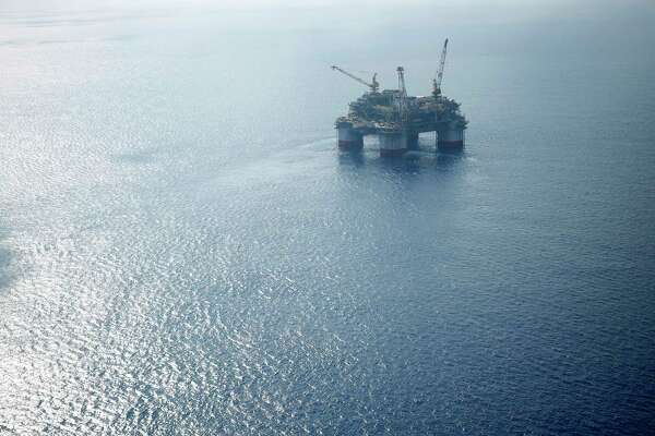 Aerial view of a deepwater oil platform in the Gulf of Mexico on May 18, 2018.