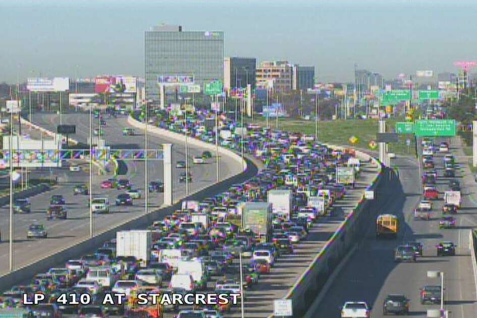 Authorities responded to a crash on Northeast Loop 410 at New Braunfels at about 8:15 a.m., causing major traffic jams along the highway.