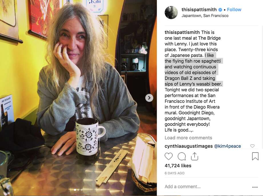 Punk rock icon Patti Smith shared a post on Instagram while eating at On the Bridge, a restaurant in S.F.'s Japantown, serving yoshoku cuisine, Western-influenced dishes that incorporate Japanese flavors. Photo: Instagram: @thisispattiesmith