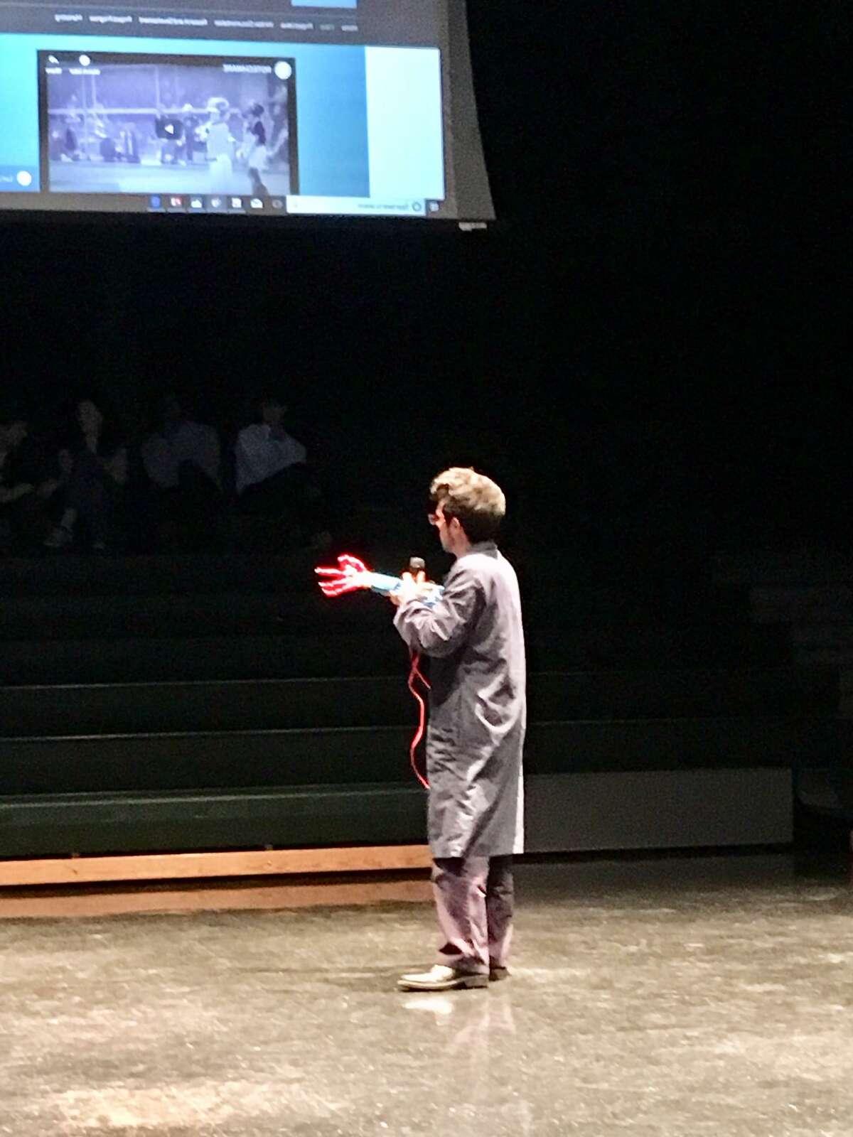 Fairchild Wheeler student presents his capstone project in Bridgeport,. Jan. 10, 2019