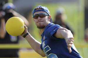 NFC tight end George Kittle #85 competes in the Epic Pro Dodgeball at the Pro Bowl Skills Challenge, Wednesday, January 23, 2019, in Kissimmee, FL. (AP Photo/Gregory Payan)