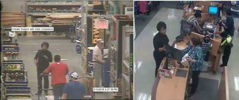 A woman suspected of committing identity theft of a Conroe resident is seen inside stores where the Montgomery County Sherrif's Office says she tried to open charge accounts using the stolen information. Photo: Courtesy Of Montgomery County Sherrif's Office