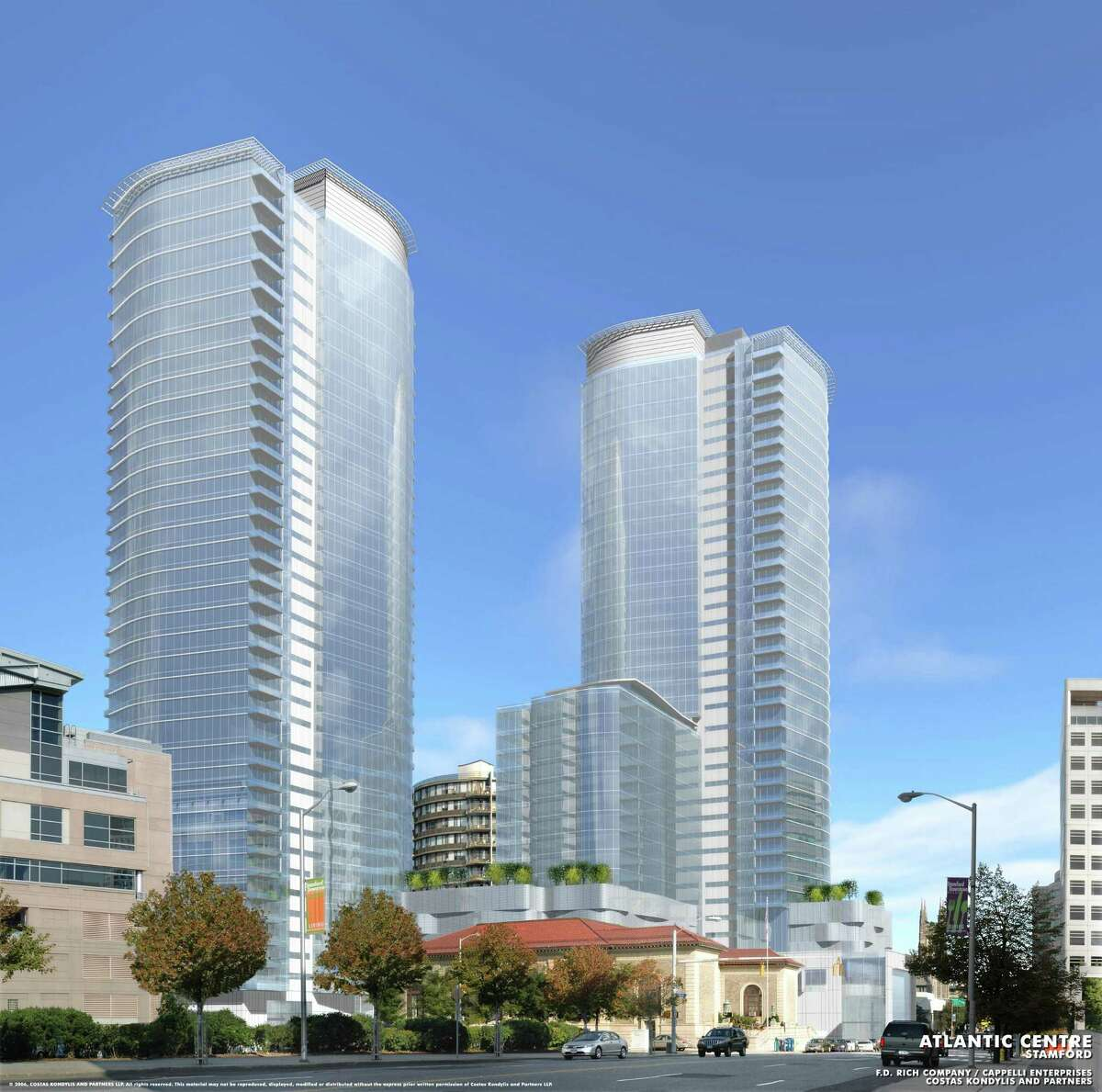 Artist rendering of the proposed Atlantic Centre development at the intersection of Atlantic Street and Tresser Boulevard. Developers Thomast Rich and Louis Cappelli planned on building a Ritz-Carlton with 289 condominiums, 198 hotel rooms, and 68,000 square feet of retail space, but city zoning officials denied their application to extend the permit for the project.