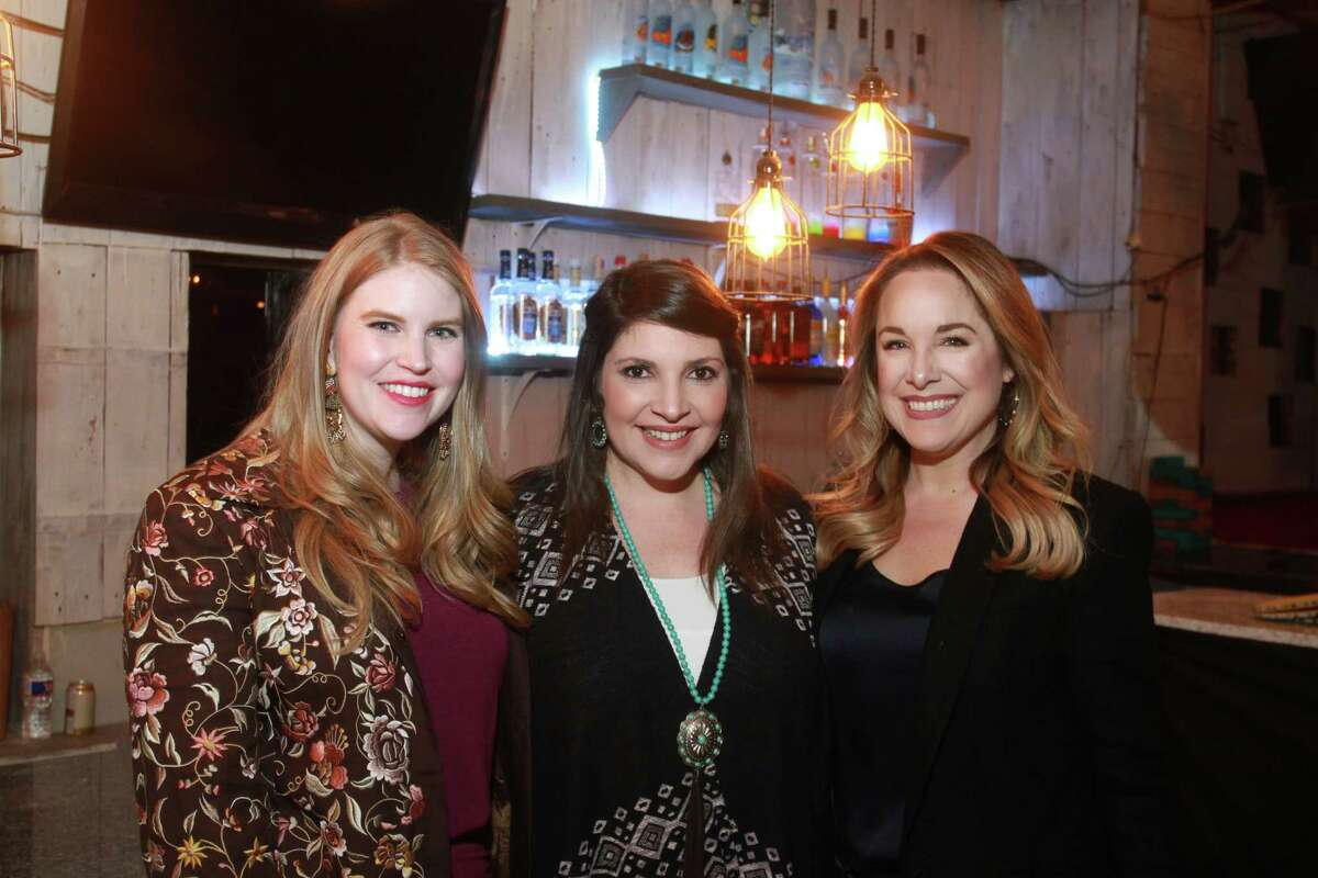 Kelsey Wright, from left, Ashley Plaeger and Elaine Balagia Croucher at the Cattle Baron's Ball 2019's Gentlemen's Committee Celebration at Daisy Duke's.