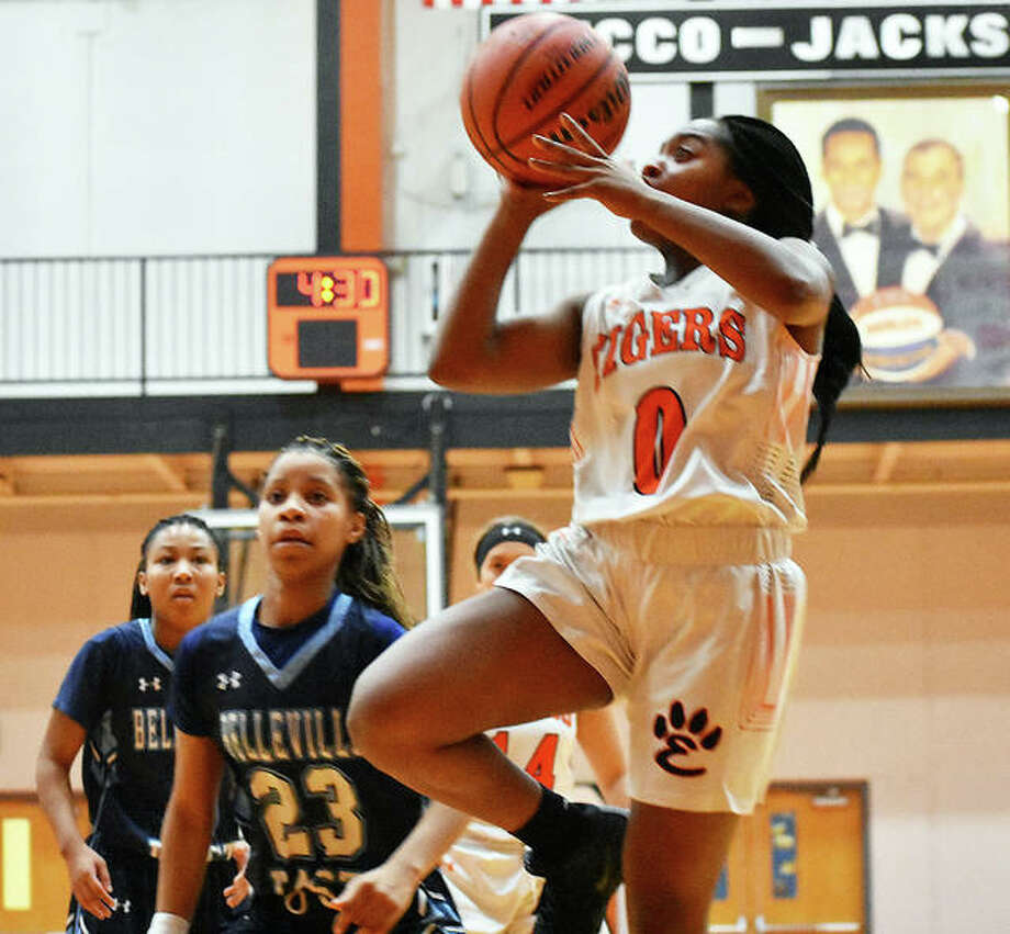 Edwardsville guard Quierra Love goes up for a shot against Belleville East in the third quarter on Tuesday inside Lucco-Jackson Gymnasium. Photo: Matt Kamp/Intelligencer