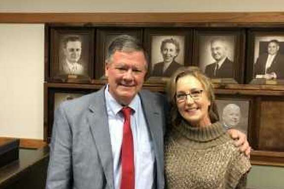 Cleveland interim athletic director/head football coach Norris Taff was approved by the school board to be the new athletic director/head football coach for the Indians. Taff is accompanied by his wife Julie Taff.