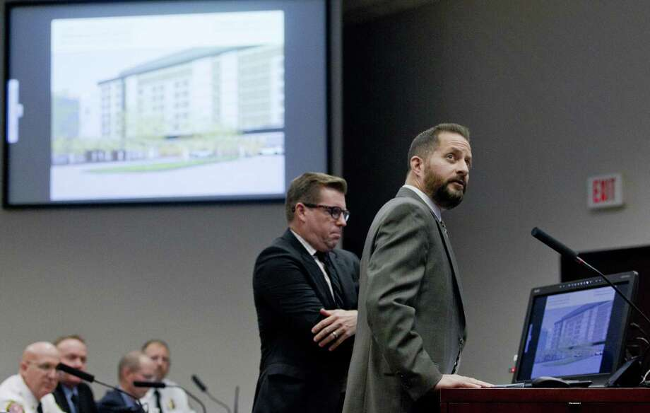 Greg Garfield, president of Garfield Public Private LLC, presents a pre-development business plan for a Conroe convention center during a special joint meeting of the Conroe City Council and the Conroe Industrial Development Corporation. Photo: Jason Fochtman, Houston Chronicle / Staff Photographer / © 2019 Houston Chronicle