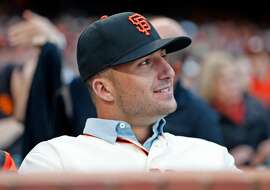 San Francisco Giants' 2018 1st round pick Joey Bart watches the Giants play the Miami Marlins during MLB game at AT&T Park in San Francisco, Calif. on Monday, June18, 2018.