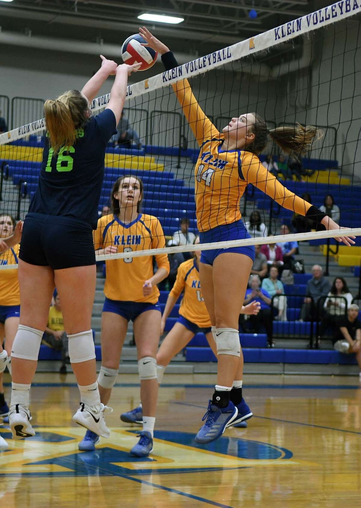 Klein senior outside hitter Baylee Laskoskie, right, was selected to the 2018 Texas Association of Volleyball Coaches Class 6A All-State volleyball team.