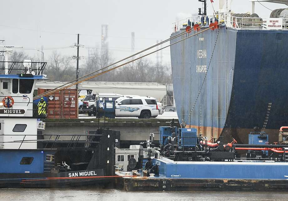 A body was found in the water between the pier and a ship in Port Arthur on Wednesday.