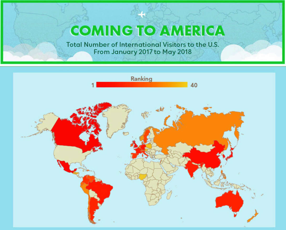 Leading source countries for foreign visitors to the U.S.