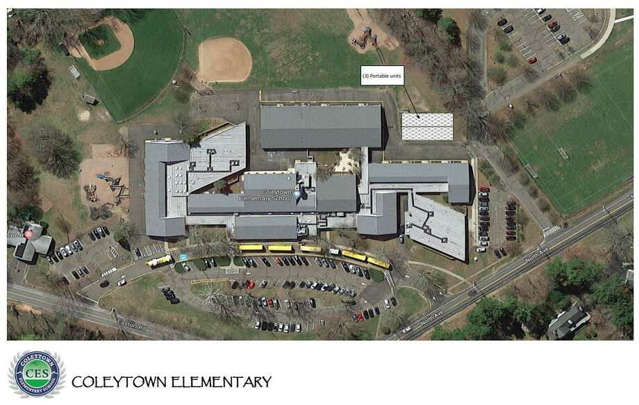 Coleytown Elementary School is slated to add three portable classroomsl for next year in order to accomodate the sixth graders who will stay at the elementary school in light of the closing of Coleytown Middle School. Photo: Vaughan, Sophie