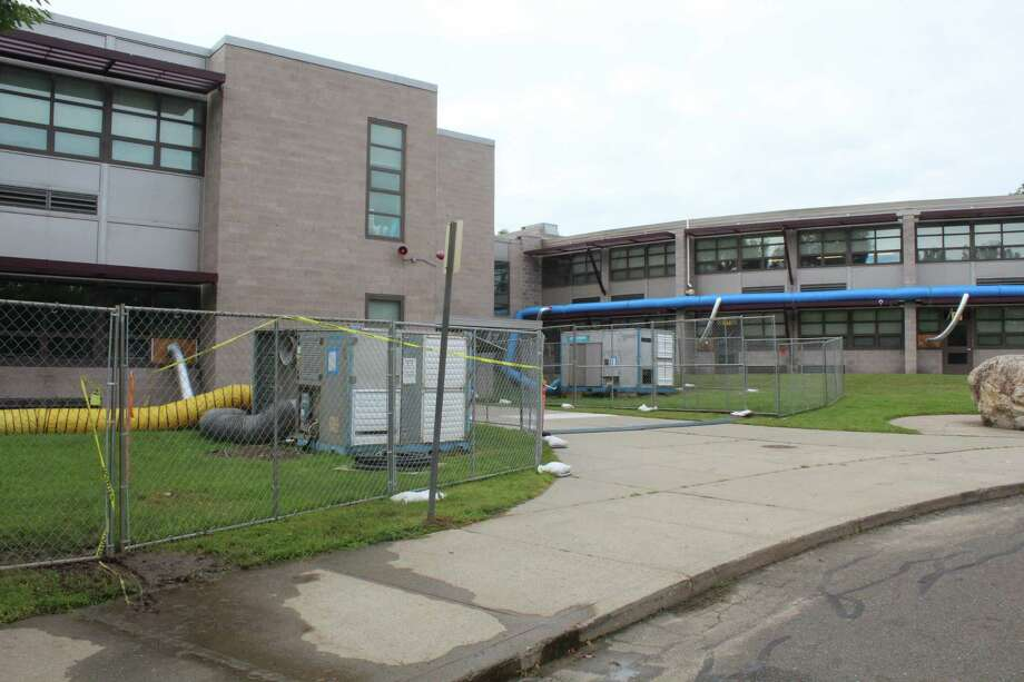 A rental industrial strength dehumidification system was set up at Coleytown Middle School to address the school's ongoing issues with mold growth back in 2018. Photo: Sophie Vaughan / Hearst Connecticut Media / Westport News