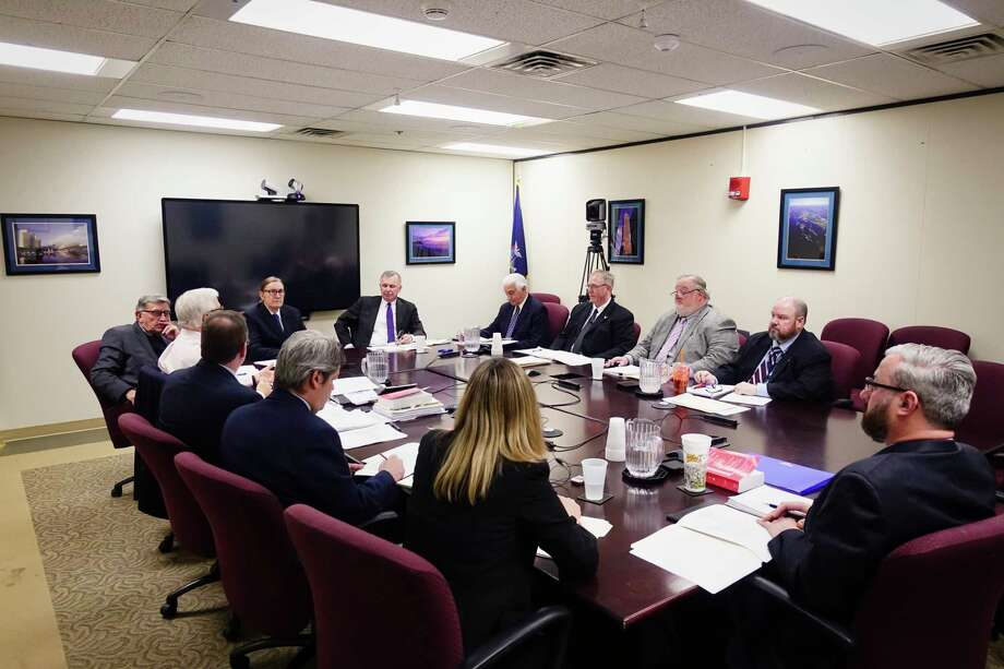 Commissioners, directors and employees of the New York State Board of Elections take part in a meeting at the Board of Elections on Thursday, Jan. 24, 2019, in Albany, N.Y. Enforcement counsel Risa Sugarman did not attend the meeting because of a lawsuit she filed against the commissioners' move to constrain her autonomy.  (Paul Buckowski/Times Union) Photo: Paul Buckowski, Albany Times Union / (Paul Buckowski/Times Union)