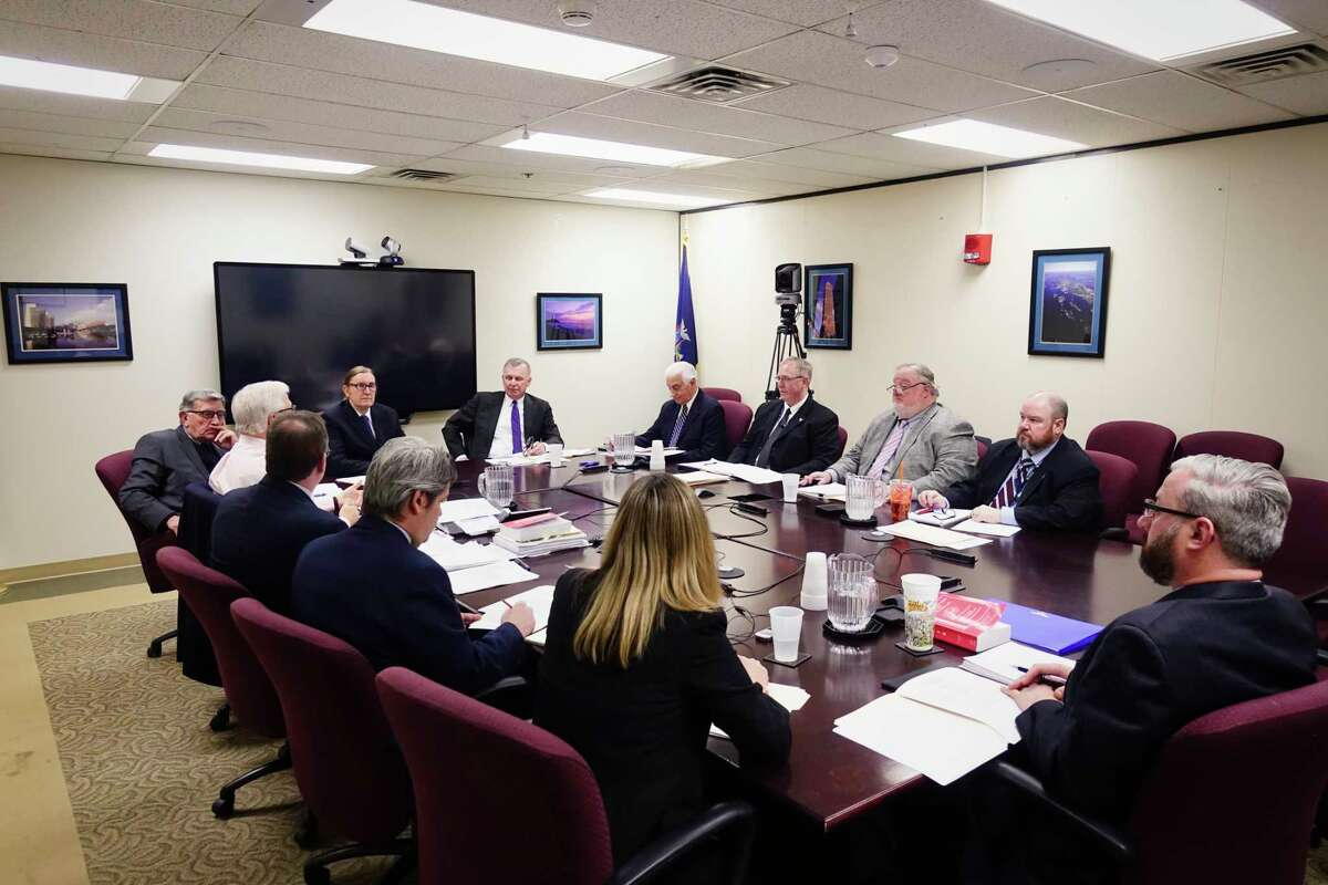 Commissioners, directors and employees of the New York State Board of Elections take part in a meeting at the Board of Elections on Thursday, Jan. 24, 2019, in Albany, N.Y. Enforcement counsel Risa Sugarman did not attend the meeting because of a lawsuit she filed against the commissioners' move to constrain her autonomy. (Paul Buckowski/Times Union)