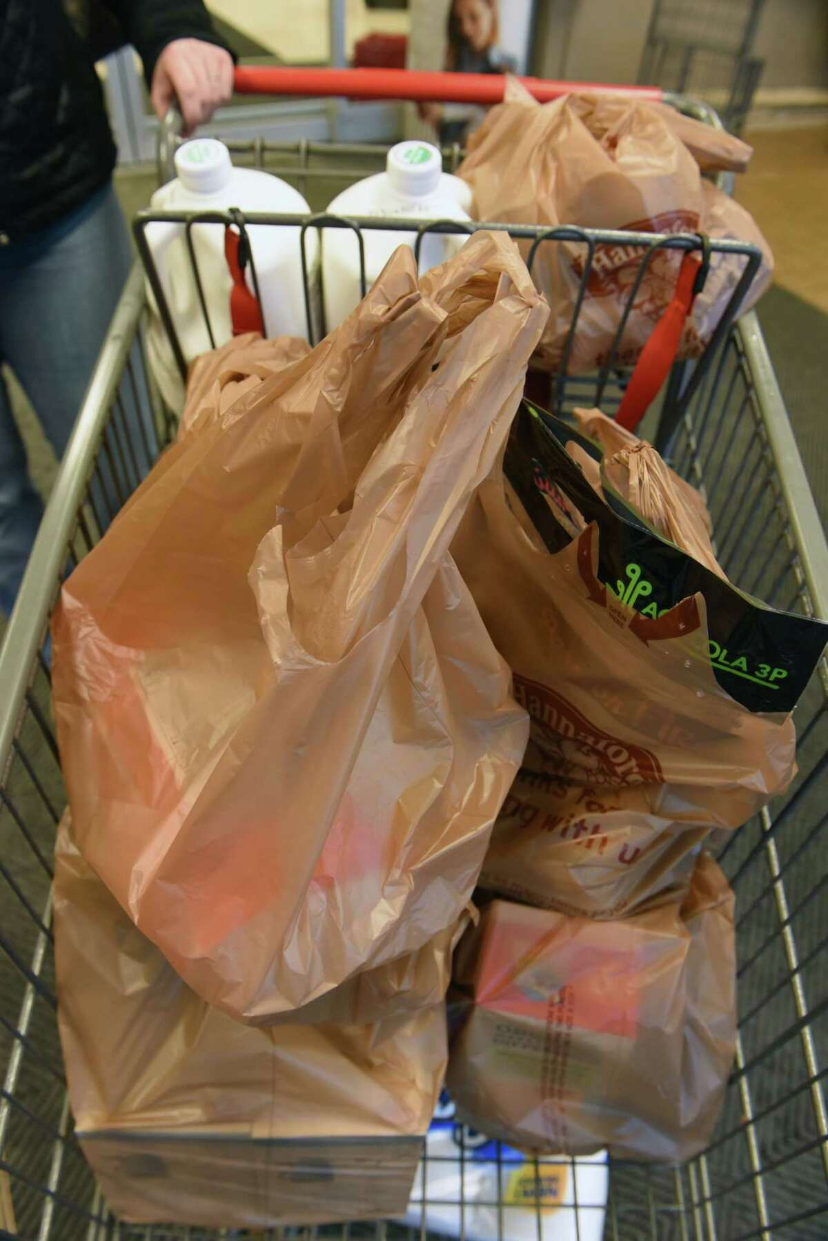 Plastic disposable shopping bags are seen in a customer's cart at a Hannaford grocery store on Thursday, Jan. 24, 2019 in Clifton Park, N.Y. (Lori Van Buren/Times Union)