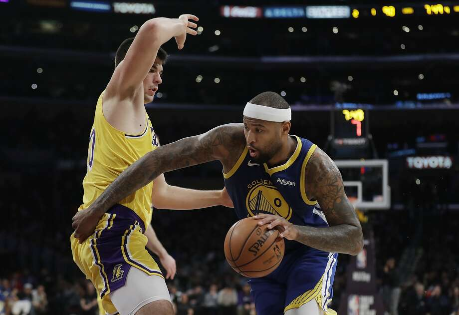 Golden State Warriors' DeMarcus Cousins (0) is defended by Los Angeles Lakers' Ivica Zubac during the second half of an NBA basketball game, Monday, Jan. 21, 2019, in Los Angeles. (AP Photo/Marcio Jose Sanchez) Photo: Marcio Jose Sanchez / Associated Press