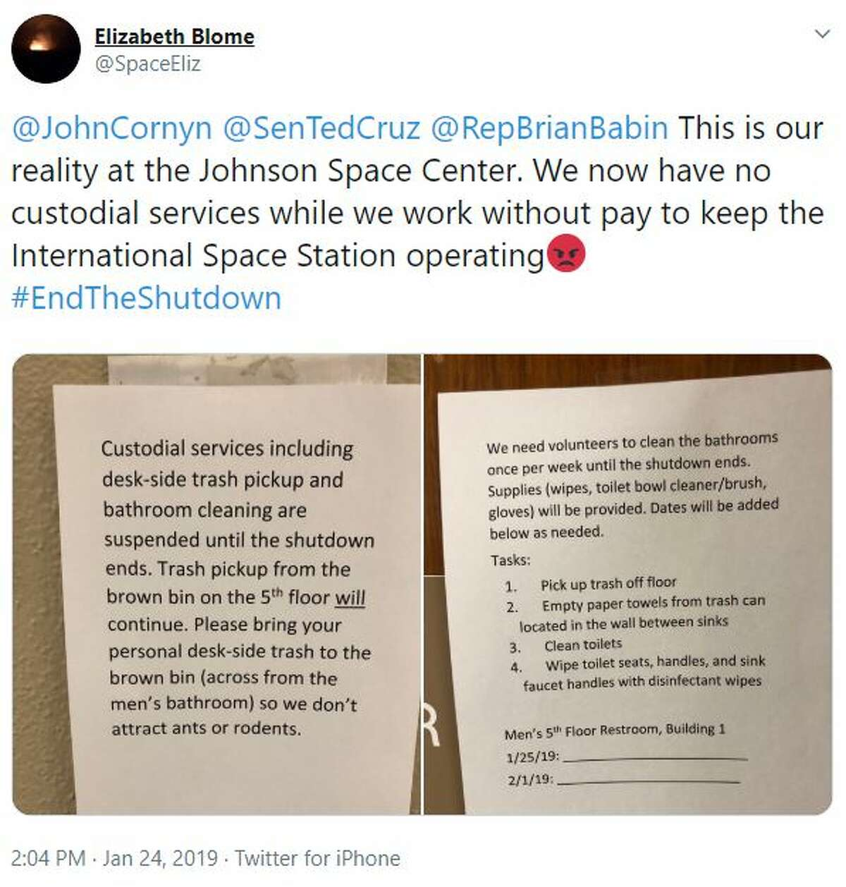 """""""This is our reality at the Johnson Space Center. We now have no custodial services while we work without pay to keep the International Space Station operating #EndTheShutdown"""""""