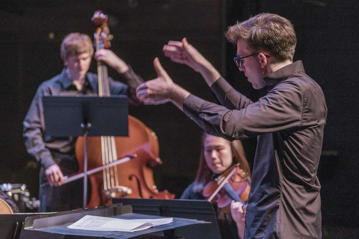 Leonard Bopp conducting the I/O Ensemble. Credit: Keith Forman