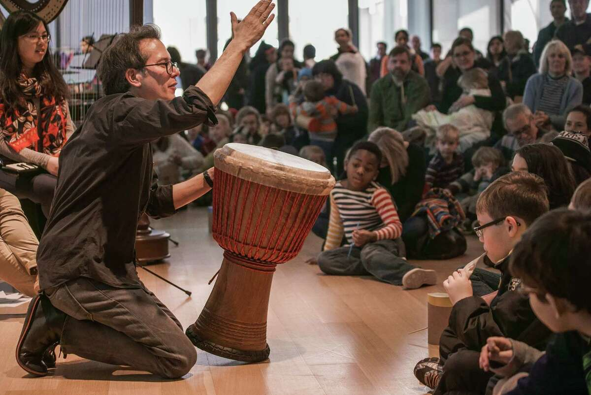 A percussion demonstration during the I/Out Loud family concert. Credit: Keith Forman