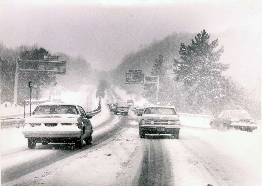 Snow in 1988 on the Merritt Parkway, right near exit 44, Fairfield's lone exit on that roadway. Photo: Contributed /