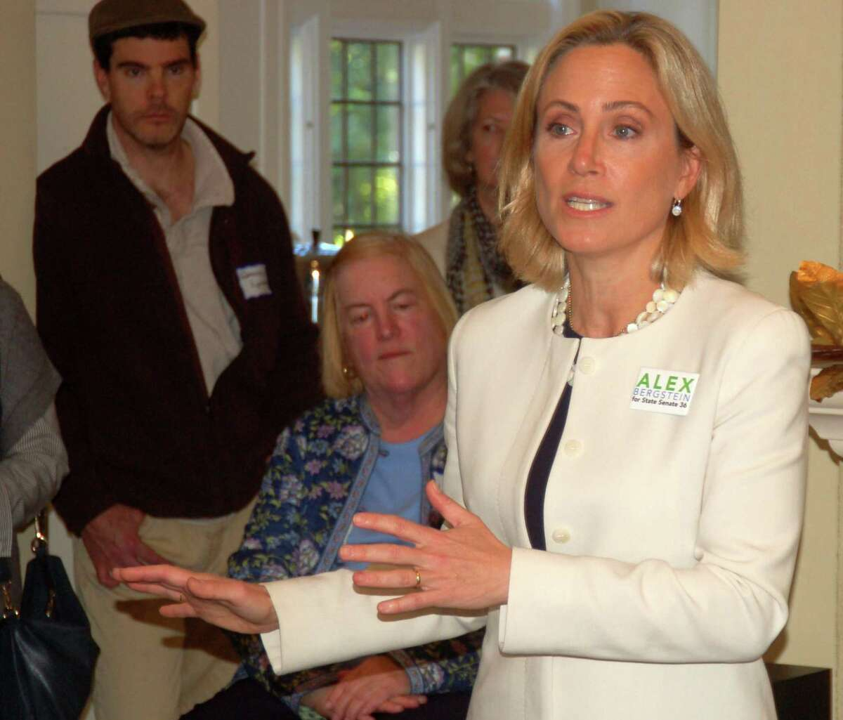Alexandra Bergstein, Democratic candidate for state Senate District 36, and Lt. Governor candidate Susan Bysciewicz campaigned at an event at the home of former Greenwich Selectwoman Lin Lavery in Greenwich on Oct. 23, 2018. The two took the opportunity to urge their supporters to get out the vote.