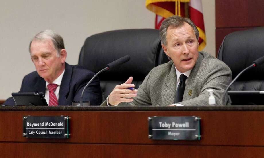 Conroe Councilmen Seth Gibson, left, and Raymond McDonald, right, worked with city to staff to mitigate a sewer rate hike for residents. Photo: Jason Fochtman, Houston Chronicle / Staff Photographer / © 2019 Houston Chronicle