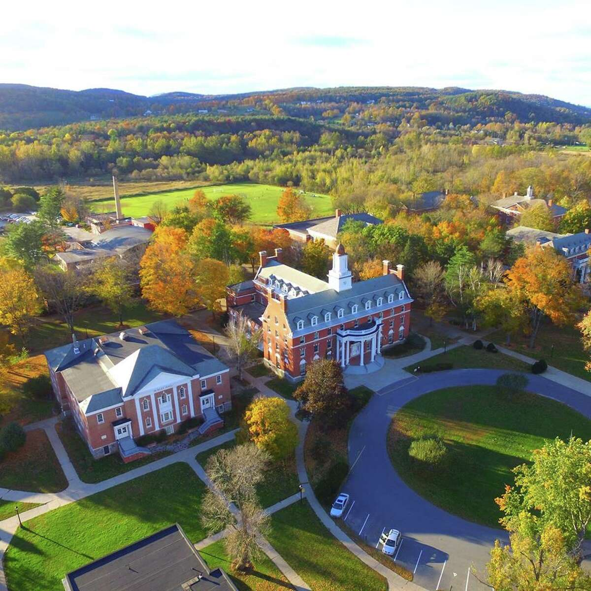An undated aerial view of Green Mountain College in Poultney, V.T. The campus, now closed, is for sale.