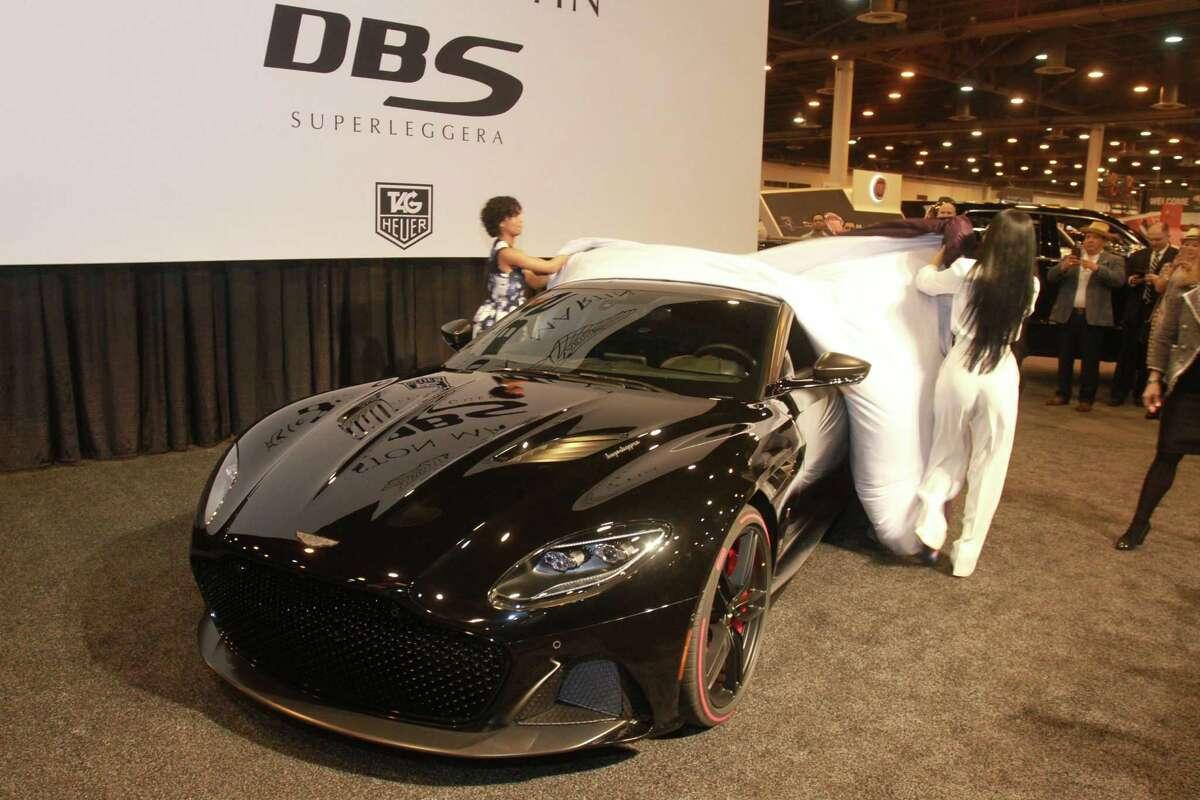 The Aston Martin DBS Superleggera Tag Heuer Edition is unveiled at the Houston Auto Show.