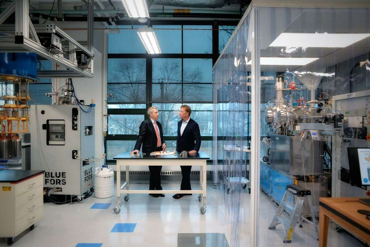 Gov. Ned Lamont, left, meets with Quantum Circuits co-founder and chief scientist Robert Schoelkopf at its new lab at 25 Science Park in New Haven.